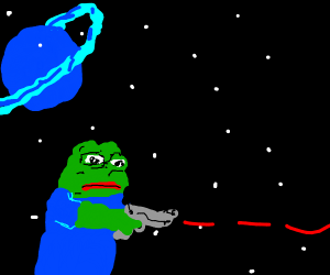 space pepe fires LAZOR
