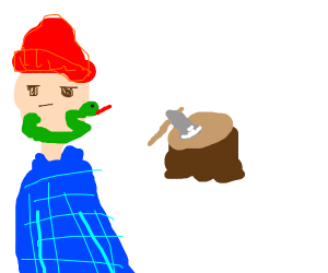 lumberjack with a snake beard
