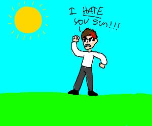 person hates the sun