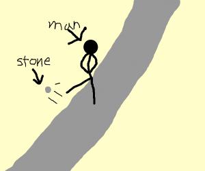 Man kicks stone