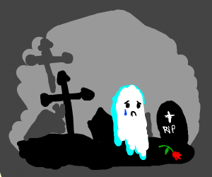 Sad ghost at a grave