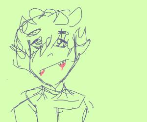 Happy Anime Vampire wearing scarf