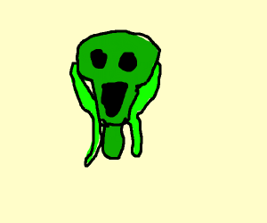 green scream person holding a baby