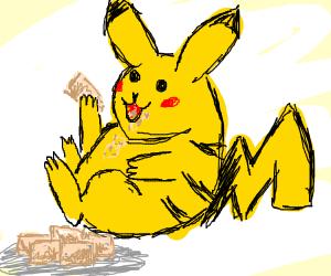 pikachu eating tofu