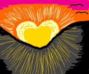 love heart sun over a hill
