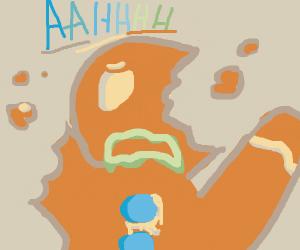 gingerbread man half head, arm, leg eaten
