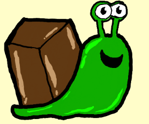 green snail but with a box as shell