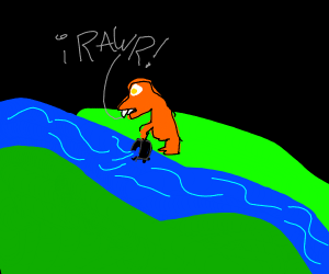 Dinosaur collecting water