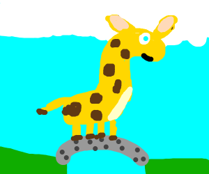 giraffe on a bridge
