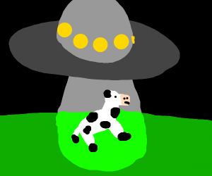 Cow being abducted by aliens