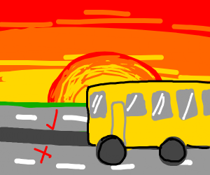 School bus driving on the wrong side