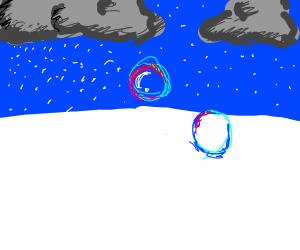 Blowing bubbles in winter