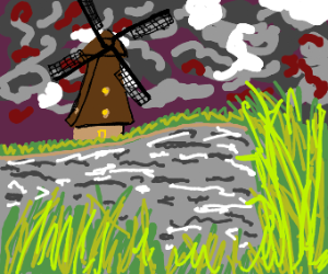 Windmill in the middle of cloudy weather