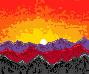 A beautiful mountain scape during sunset