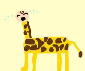 Giraffe with a baby head