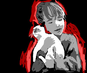 In a gray world, girl hugs cat and glows red.