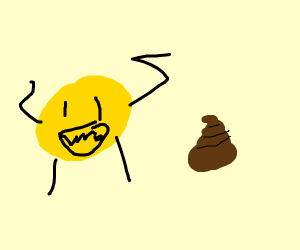 A yellow..creature? And a light lump of poop