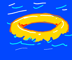 Flotation ring in water.