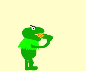 A mad muppet eats corn on the cob