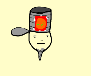 Man with tin-can tophat