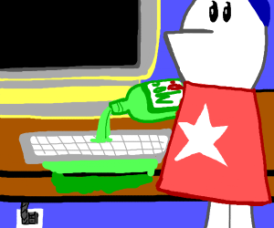 homestar runner spills soda on keyboard