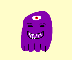 thanos with three eyes and spikey teeth