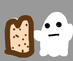 a toast with chocolate chips and a ghost