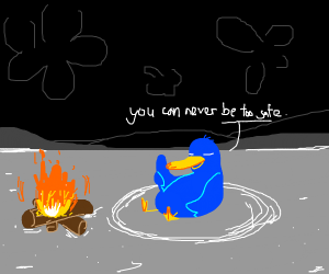 blue duck sitting in a circle