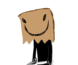 Man with a paper bag over his head