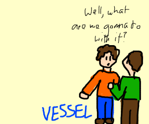 two men with the word Vessel at the right