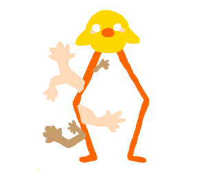 a bird with long legs and one with human arms