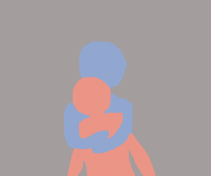 blue person hugging pink person?