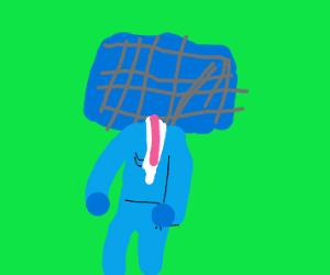 Sonar panel face man in suit