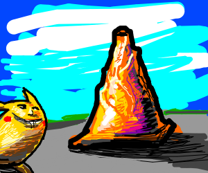 Pikachu stares at ENORMOUS VEINY traffic cone