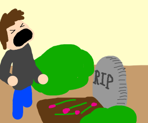 man legit screaming in front of grave