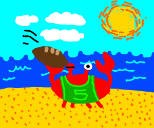 crab in tshirt getting hit with a football