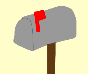 A grey mailbox with a red flag