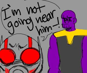 Ant-Man crawling up Thanos's....