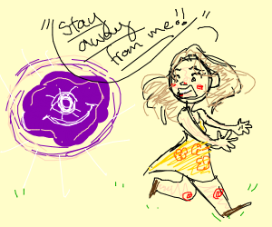 lady says stay away to a thing glowing purple