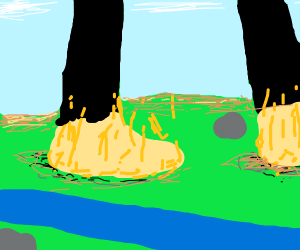 man's feet are on fire