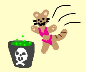 Cat in bikini jumps into acid