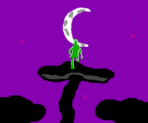 Alien on top of mushroom. Looks at moon.