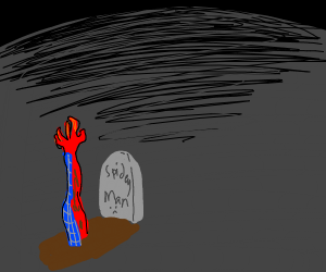 Spider Man comes out of his grave