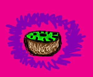 A kiwi with a magenta background