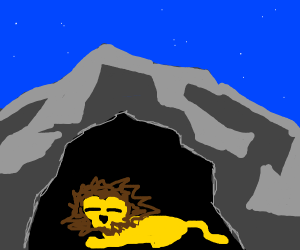 The lion sleeps tonight (in a cave)