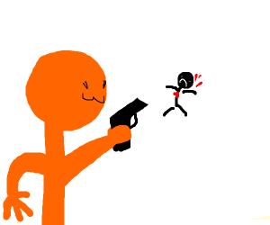 a orange guy shooting a black stickman