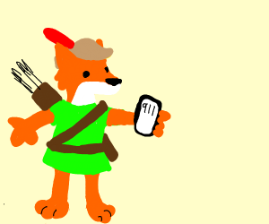 Robin hood taking a call