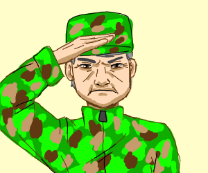 soldier salutes the viewer