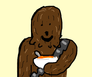 Chewbacca eats breakfast