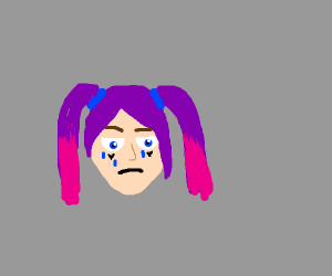 egirl with pink and purple hair is #sad